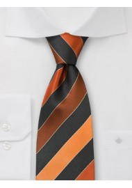 Wide striped silk tie - Orange and black striped tie
