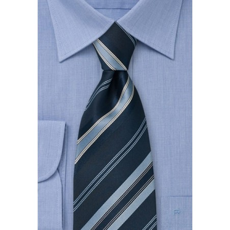 Navy blue striped tie  -  Dark blue necktie with diagonal stripes