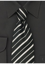 Black tie - Silk tie in black with fine silver stripes