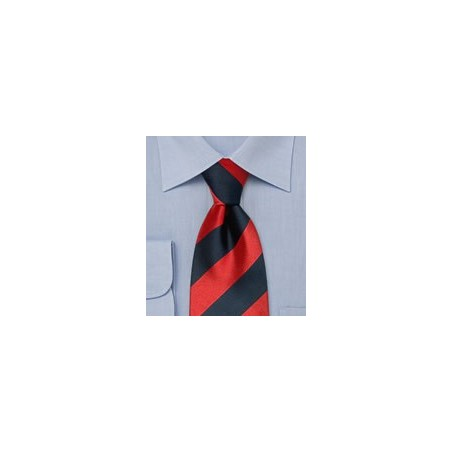 Striped silk tie  -  Wide striped tie in dark blue and red