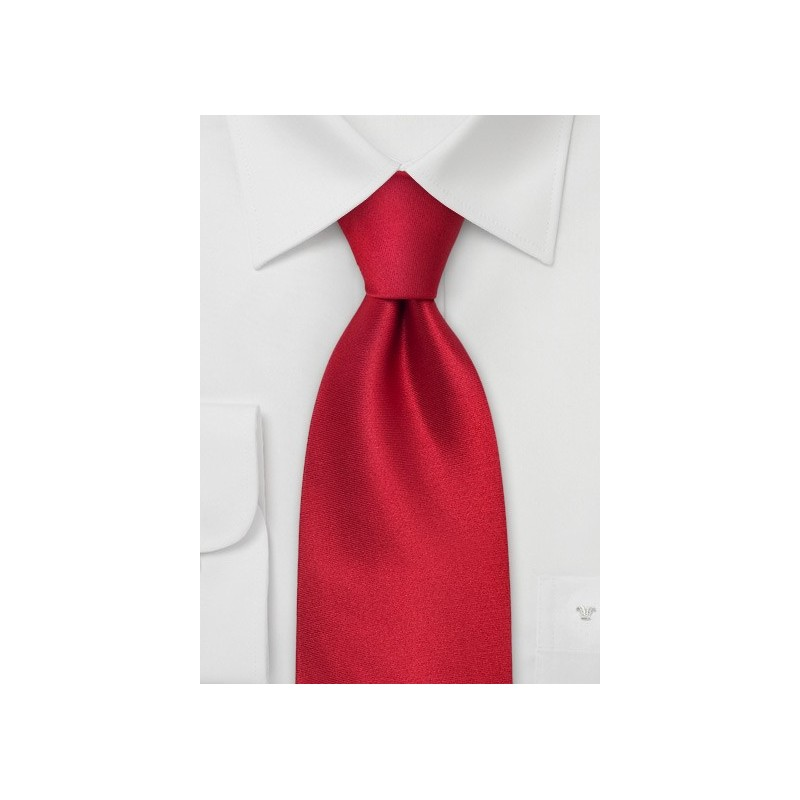 Solid Color Red Tie  - Handmade silk tie in solid bright red