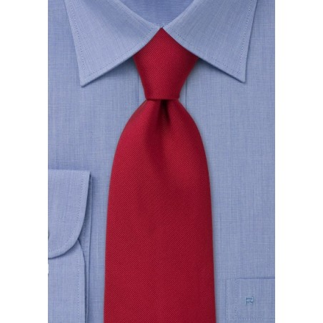 Solid Color Tie - Deep red with fine ripped striping pattern