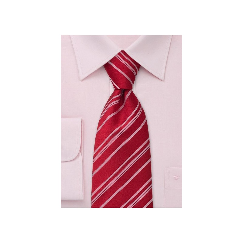 Clip on tie - Bright Red with stripes