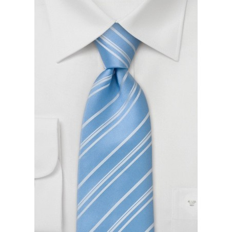 Striped Tie  -  Baby Blue Tie with fine white stripes