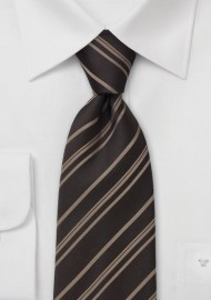 Striped Tie  - Dark Brown with light brown stripes