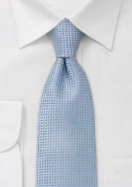 Baby blue necktie with fine square pattern