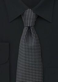 Black patterned tie  -  Black necktie with silver pattern