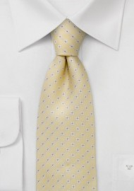 Yellow silk tie with tiny flower pattern