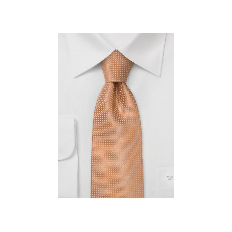 Apricot orange silk tie  -  Orange patterned silk tie