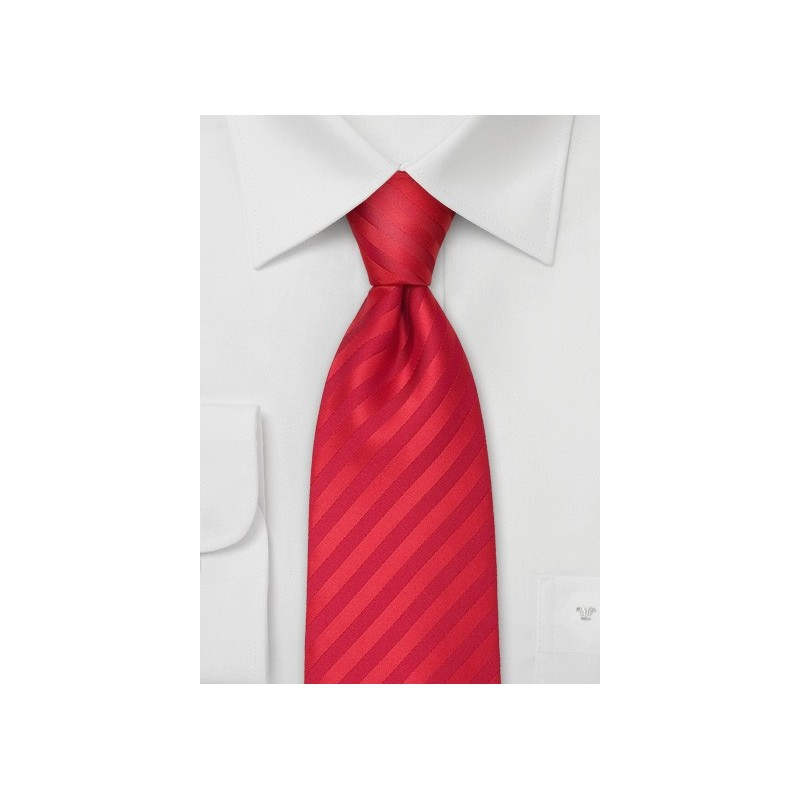 XL solid color red necktie - Stain resistant Microfiber tie in bright red