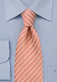 Salmon colored silk tie - Handmade necktie in salmon with thin white stripes