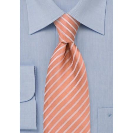 Salmon colored silk tie - Handmade necktie in salmon with thin white stripes