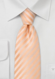 Extra long solid peach-orange necktie - Stain resistant Microfiber necktie in single orange color