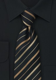 Extra long striped tie - XL Black silk tie with bronze and copper stripes
