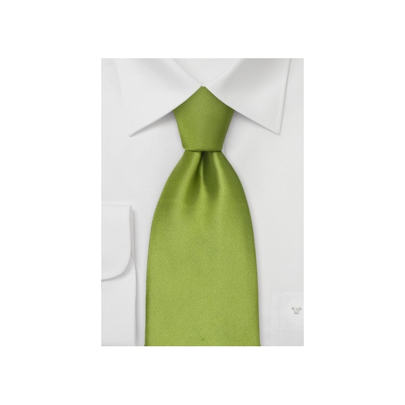 Sage green silk tie - Solid color bright green necktie
