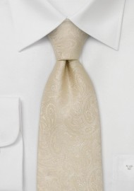 Paisley designer necktie -  Light tan colored silk tie with paisley pattern