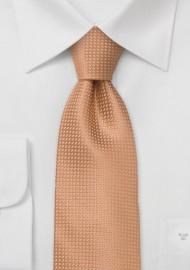 XL Mens Neck Ties - Apricot Color Silk Tie in XL