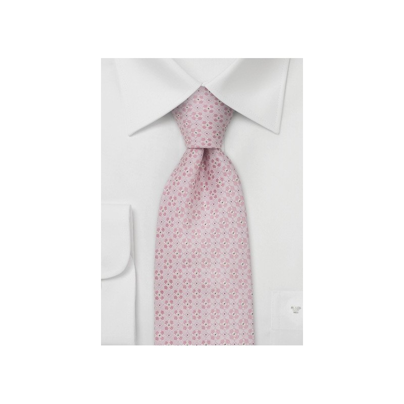 Extra long neckties - Pink silk tie by Chevalier