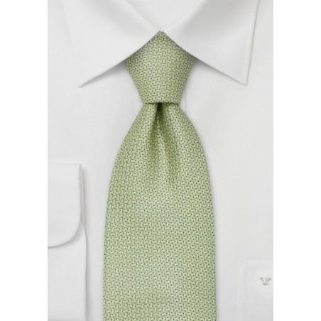 XL designer ties - Light green silk tie by Chevalier