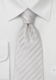 Bright White Silk Tie in XL Length