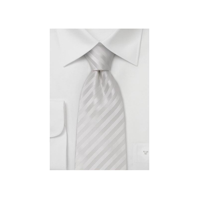 Bright White Silk Tie in XL Length