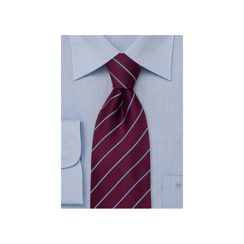 Extra long ties - Purple silk tie with light blues stripes
