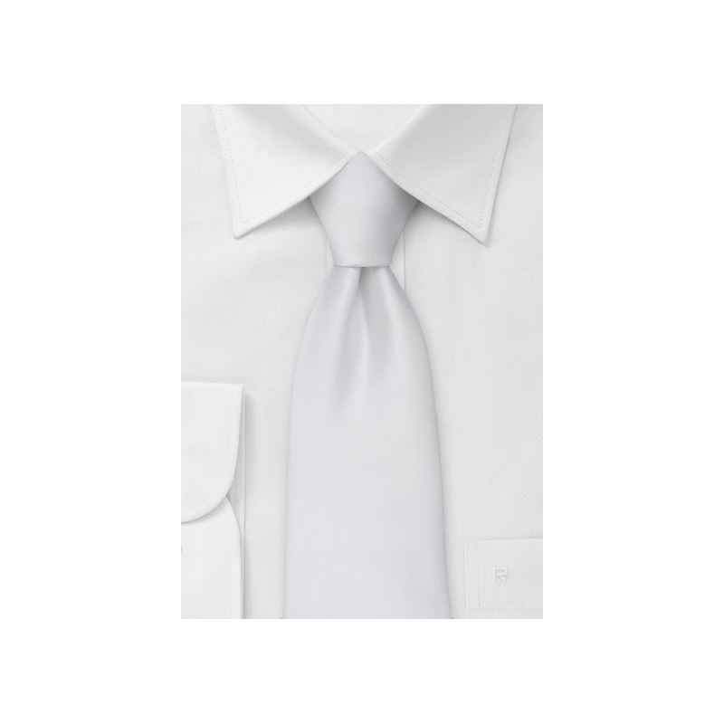 Extra long ties - Solid white XL necktie