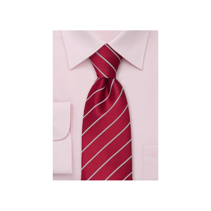 Striped Men's Ties - Red tie with fine silver stripes