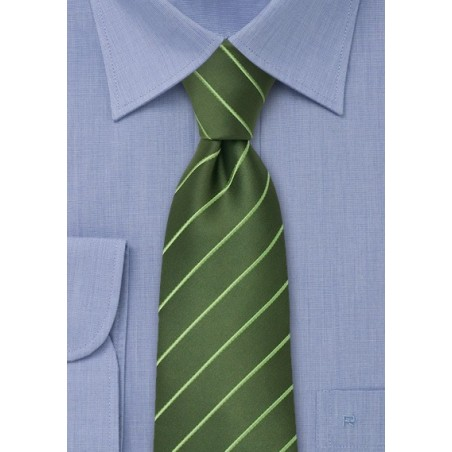Green men's ties - Green striped necktie
