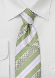 Lime green neckties - Modern striped green tie