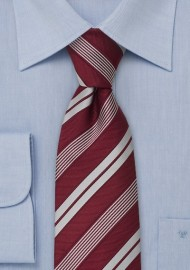 Italian Neckties - Wine red striped tie