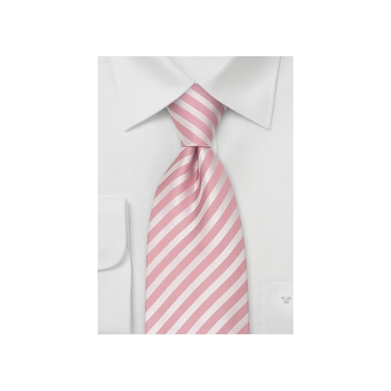 Pink Extra Long Ties - Pink silk tie in XL length