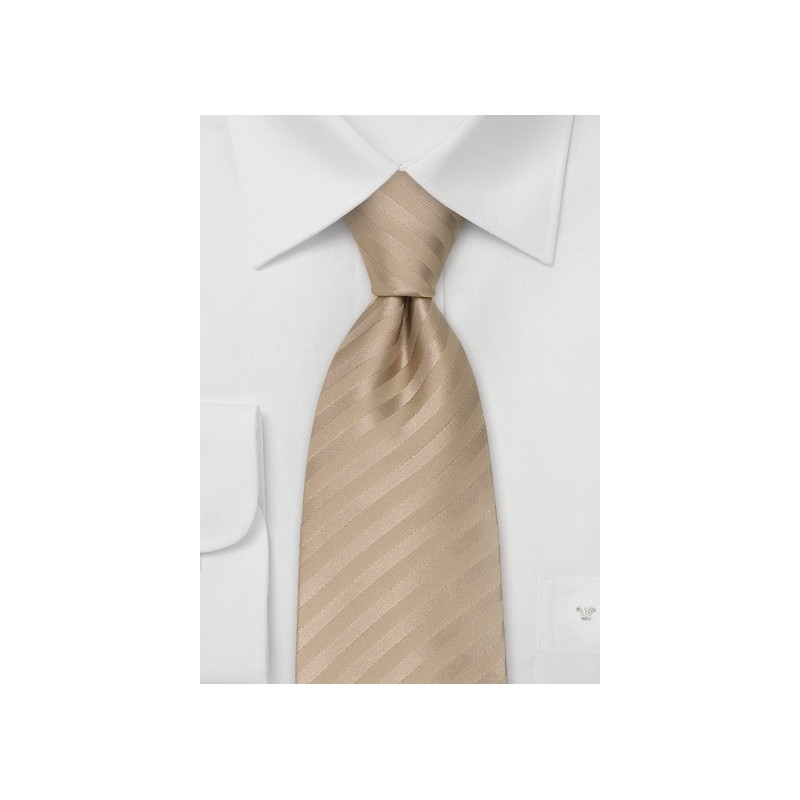 Wedding Neck Ties - Light Brown Striped Tie