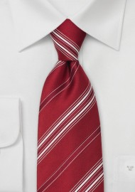 Italian Designer Ties - Red Striped Tie by Cavallieri