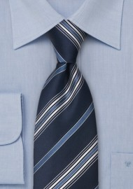 Blue Striped Silk Tie by Cavallieri in XL Size