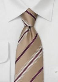 Tan Designer Ties - Striped Necktie by Cavallieri