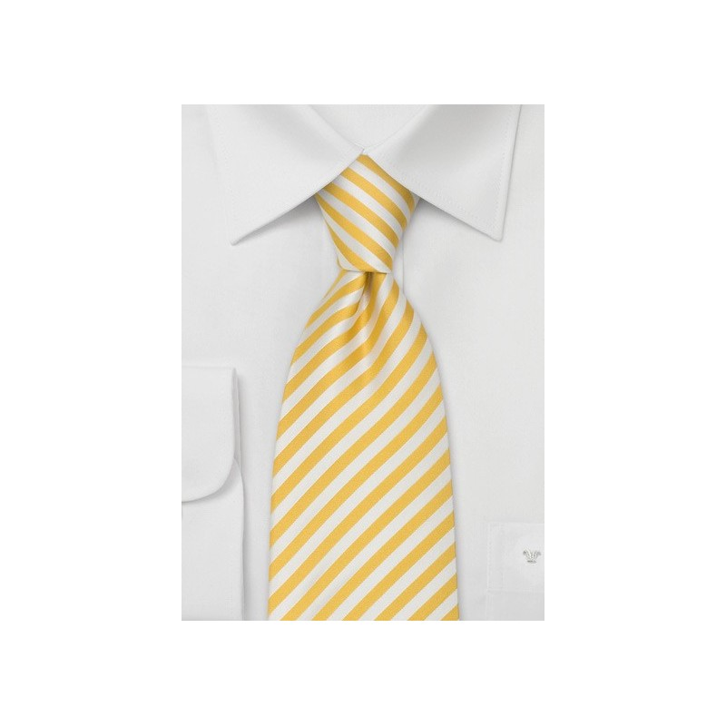 Extra Long Ties - Yellow & White Striped XL Tie