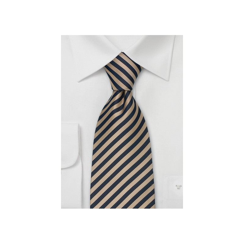 Striped Extra Long Ties - Brown & Blue Striped Tie in XL