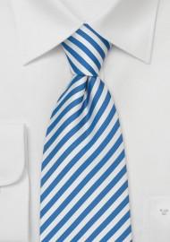 Extra Long Mens Ties - Blue & White XL Necktie