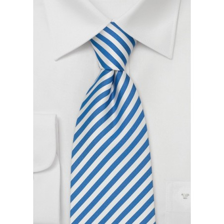 Extra Long Mens Ties - Blue & White XL Necktie
