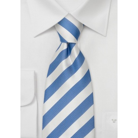 Striped Neckties - Light blue & white striped silk tie