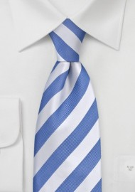 "Extra Long Light Blue Ties - Striped Necktie ""Identity"" by Parsley"