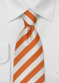 Orange Neckties - Orange and white striped tie