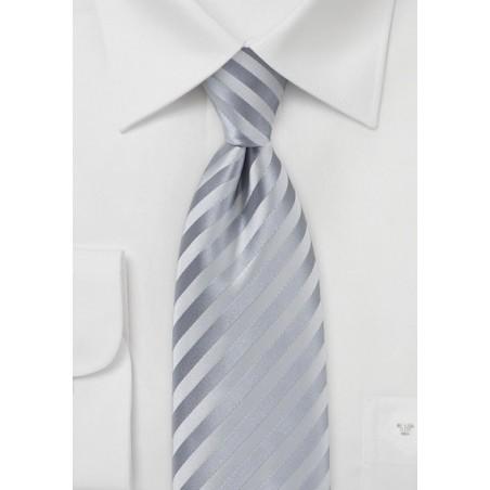 Festive Silver Necktie in Extra Long Length