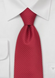 Modern Red Necktie - Solid Red Tie With Fine Stripes