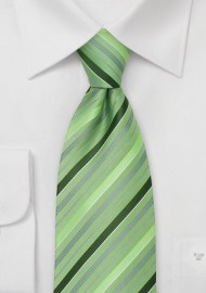 Moss Green Striped Necktie