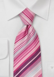 Pink Ties - Hot Pink Striped Necktie