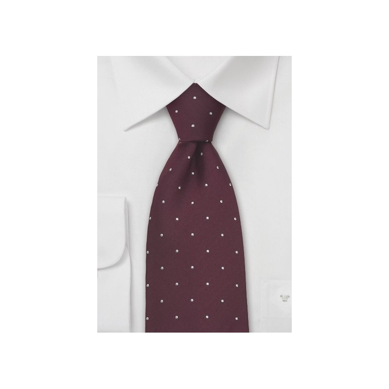 Burgundy and White Polka Dot Tie by Chevalier