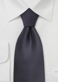 Dark Gray Silk Necktie in XL Length
