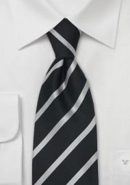 Black and Silver Striped Silk Tie